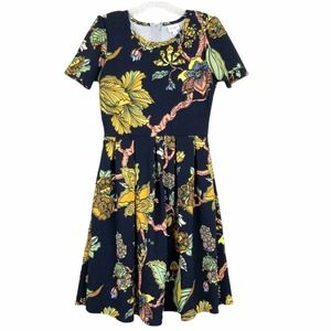 Lularoe Amelia Black Yellow Floral Print Dress